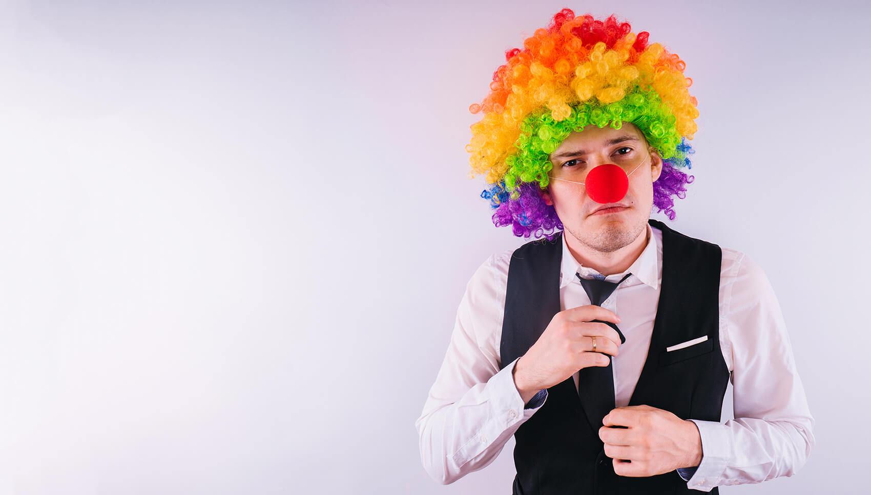Bigstock Office Worker In Clown Wig Cl 254368510 (2)